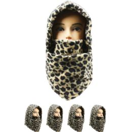 36 Bulk Unisex Adult Winter Ninja Winter Hat Leopard Print