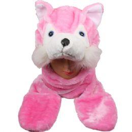 24 Bulk Animal Hat Pink Fox