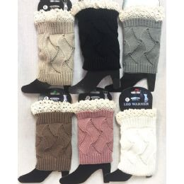 24 Bulk Solid Color Knitted Boot Topper With Crochet Top