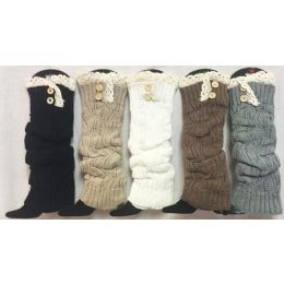 12 Bulk Solid Color Knitted Long Boot Topper Crochet Top Button