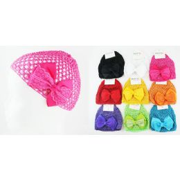 96 Bulk Kids' Crochet Hats With Bow In Assorted Colors