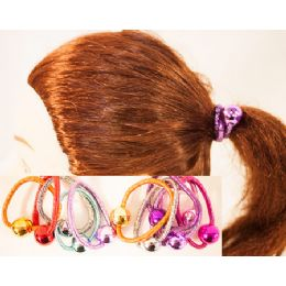 96 Bulk Metalic Ball Pony Tail Holder Hair Ties