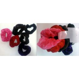 108 Bulk Velvet Hair Ties Pony Holder 6pcs/cartd Ast Colors