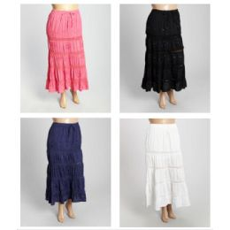 12 Bulk Free Size Solid Color Maxi Skirt With Sequins