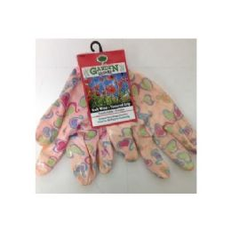 72 Bulk Printed Pattern Garden Gloves With Latex Grip