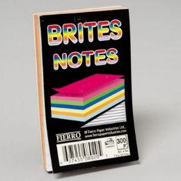 96 Bulk Notes Pad 3x5 Inch Glued 5 Asstd Colours 300 Ct 5/16 Inch Ruled