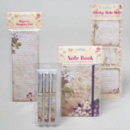 96 Bulk Stationary Shipper 4asst Floral Notebook/shopping List/3pk Pen/ Sticky Note Spring Print 48pcp