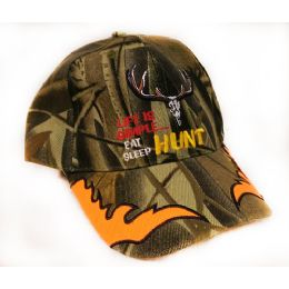 24 Bulk Adjustable Baseball Hat Eat Sleep Hunt Camo Assorted