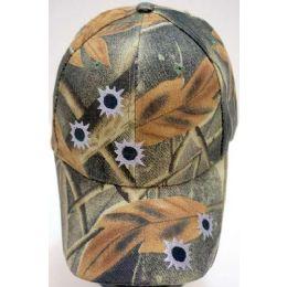24 Bulk Camo Ball Cap/ Adjustable Baseball Hat *bullet Holes