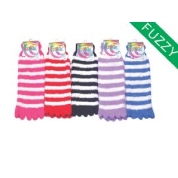 120 Bulk Womens Fuzzy Fur Lined Cotton Socks Assorted Color