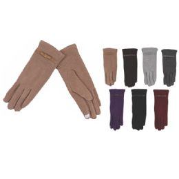 72 Bulk Womens Fashion Fur Lined Cotton Gloves Assorted Color Touch Screen Capable