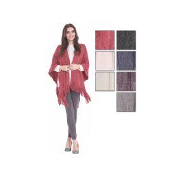 24 Bulk Womens Fashion Assorted Color Ponchos