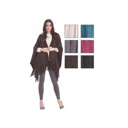 24 Bulk Womens Fashion Assorted Color Poncho With Fringes