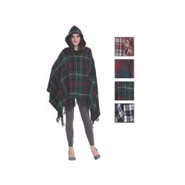 24 Bulk Womens Fashion Assorted Color Poncho With Hoodie
