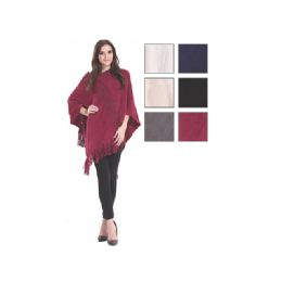 24 Bulk Womens Fashion Solid Color Poncho With Fringes