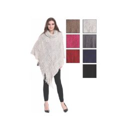 24 Bulk Womens Fashion Solid Color Poncho Turtleneck With Fringes