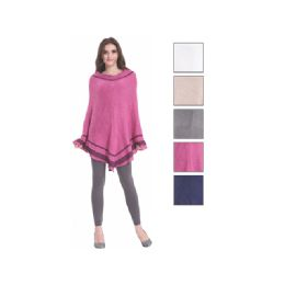 24 Bulk Womens Fashion Two Tone Assorted Color Poncho