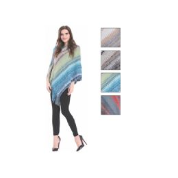 24 Bulk Womens Fashion Multi Colored Poncho With Fringes