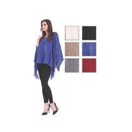 24 Bulk Womens Fashion Solid Color Ponchos