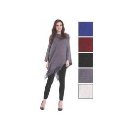 24 Bulk Womens Fashion Shimmery Assorted Color Poncho
