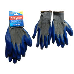 144 Bulk 1 Pair Working Gloves With Blue Rubber