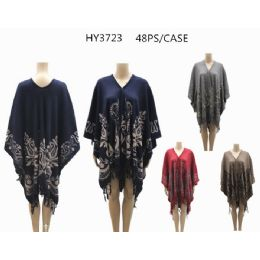 24 Bulk Woman's Printed Ponchos Assorted Colors