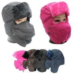 48 Bulk Adults Faux Fur Unisex Trapper Hat Assorted Color