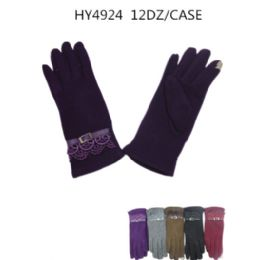 36 Bulk Ladies Touch Screen Winter Gloves Assorted Color