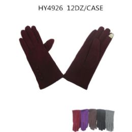36 Bulk Ladies Winter Touch Screen Gloves Assorted Color