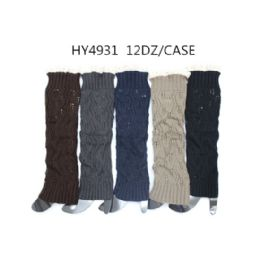 48 Bulk Woman's Long Winter Leg Warmer Assorted Color