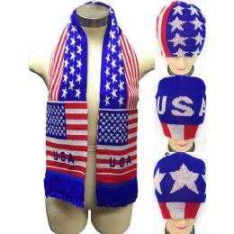 24 Bulk Usa Design Knitted Beanie Hat Scarf Set