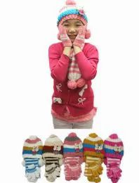 24 Bulk Girls Winter Warm 3 Piece Hat Set Striped Bunny Pattern