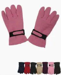 36 Bulk Woman's Fleece Winter Gloves Assorted Colors
