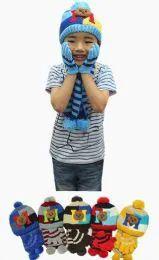 36 Bulk Boys Winter Warm 3 Piece Hat Sat Teddy Bear Pattern