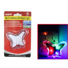 96 Bulk Multi Colored Led Butterfly Night Light Wall Outlet