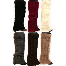 12 Bulk Knitted Boot Topper Solid Color Plain Leg Warmer