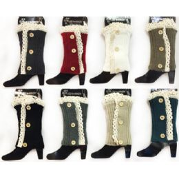 12 Bulk Knitted Boot Topper With Lace Flower Leg Warmer