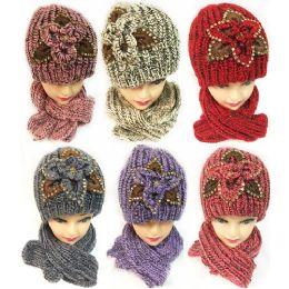 24 Bulk Winter Knitted Scarf Hat Set With Sequins Flower Design