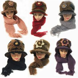 24 Bulk Winter Knitted Scarf Hat Set With Large Flower Design