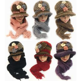 24 Bulk Winter Knitted Scarf Hat Set With Four Flower Design