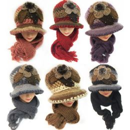 24 Bulk Winter Knitted Scarf Hat Set With Fur Ball Design