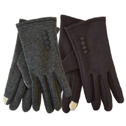 24 Bulk Winter Ladies Sensitive Touch Gloves With Buttons