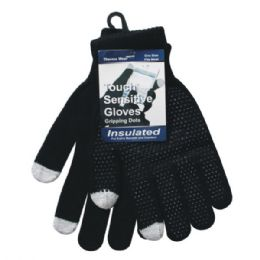 96 Bulk Winter Black Dotted Texting Glove