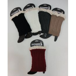12 Bulk Boot Cover [cable Knit With Antique Lace]