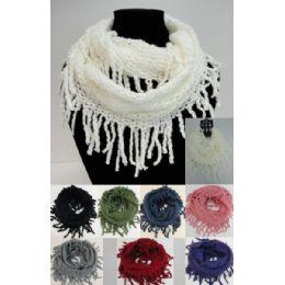 24 Bulk Fringe/loose Knit Knitted Infinity Scarf