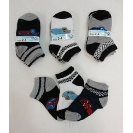 240 Bulk Boy's Printed Anklet Socks 2-4 [cars]