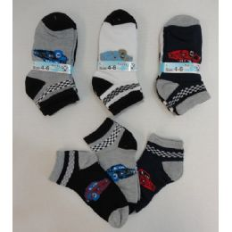 240 Bulk Boy's Printed Anklet Socks 4-6 [cars]