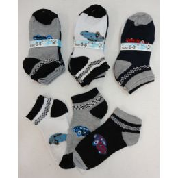 240 Bulk Boy's Printed Anklet Socks 6-8 [cars]