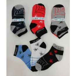 240 Bulk Boys Printed Anklet Socks 6-8 [spider & Web]