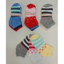 240 Bulk Girl's Printed Socks 4-6 [stars & Stripes]